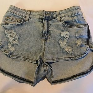 Carmar side zip distressed shorts